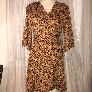 Xhilaration yellow floral printed wrap dress NWT